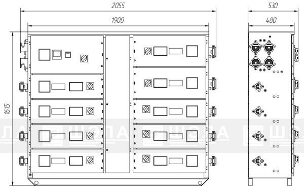 Шкаф ШР-ПП-100…1600 стационарного (напольного) испонения двухсторонний.
