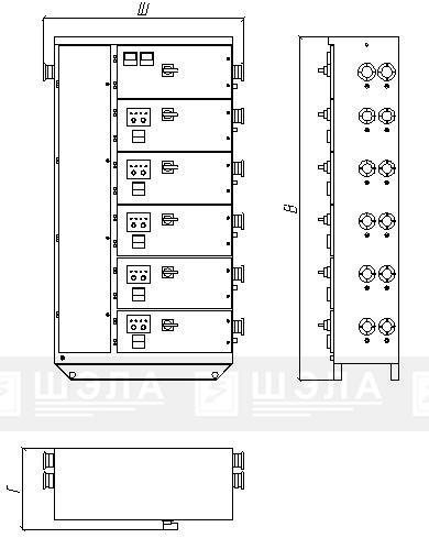 Типовая схема ШР-ПП-100…1600 стационарного (напольного) исполнения.