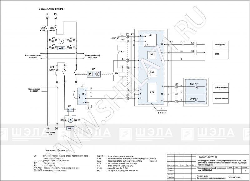 Схема главных цепей щита постоянного тока