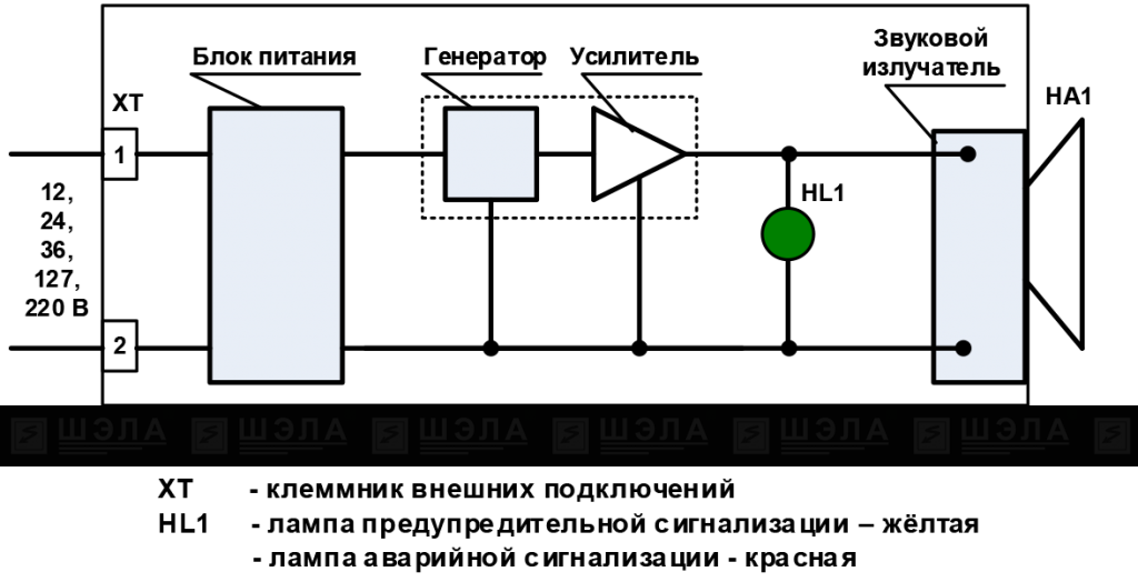 Схема сигнализатора рудничного СР-104