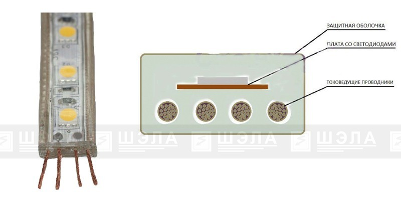 Конструкция светодиодной ленты ЛСР-9,6-36